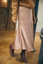 Paneled Satin Midi Skirt