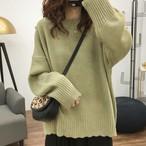 【トップス】ラウンドネック無地可愛い着痩せセーター14951336