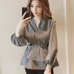 【tops】シャツVネックチェック柄長袖合わせやすいファッション