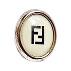 【VINTAGE FENDI BUTTON】Ellipse ホワイト ボタン F-19013