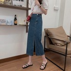slit denim skirt 2color