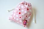 ポンっと入れてバッグの中をすっきりお片付けシンプルが使いやすい・巾着袋 いちご大福 舞妓さん 和菓子