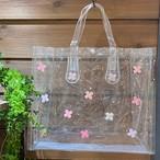 【オンライン限定価格¥2,970→¥2,200】No390クリアビニールバッグ横型(花色ピンク)
