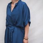 【hippiness】cupro  tack sleeve  one piece(blue) /【ヒッピネス】キュプラ タックスリーブ ワンピース(ブルー)