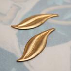 1980's 真鍮製シンプルなリーフのチャーム(2コ)