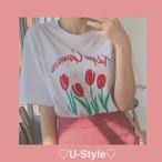 【即日発送】チューリップ柄Tシャツ