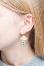 ◇STATE OF A◇ Earring Gemstone Fan & Square(Item No. 11363)