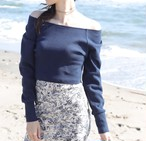 Moon Boat neck Knit Navy