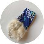 【ファー付きヘアバンド】hanabi/ブルー/original textile