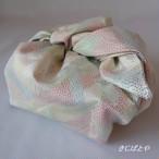 あずま袋 白地にカラフルな織り模様と草木染