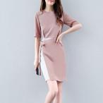 【dress】デートワンピース配色リボン切り替えAラインエレガント気質満点ラウンドネック