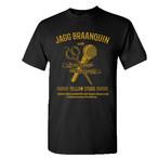 JAGG BRAANQUIN × Yellow Studs コラボTシャツ(ハサミ&マイク) 黒(黄文字)