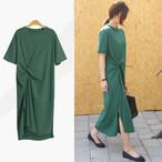 【dress】カジュアルワンピース人気デザイン無地ラウンドネック半袖