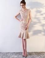 パーティードレス S~XL ドレス ひざ上丈 フリル Vネック 華やか 大人エレガント パーティー 結婚式 お呼ばれ