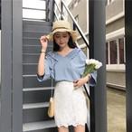 【新作10%off】plate v neck loose blouse 2766