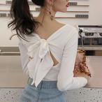 【tops】Tシャツ人気デザインリボンセクシーVネック無地