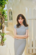 Stripe Ribbed-Knit Midi Dress
