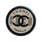 【VINTAGE CHANEL BUTTON】ミラー ブラックフレーム ロゴボタン2.0cm