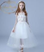 シースルー およばれ 女の子 白 ホワイト 子供用ドレス こども キッズ ロングドレス aライン