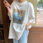 【tops】プリントラウンドネックカジュアルTシャツ27310946