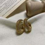 ビンテージゴールドカールピアス ピアス 韓国ファッション