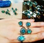 エメラルドブルーの天然パウアリング シェルリング 貝の指輪