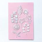 紙刺繍キット『ホワイトフラワーズ』ポストカード