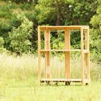 【受注生産】キャンプ用 折りたたみ木製3段棚(ライト色)