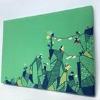 刺繍ファブリックパネル「風と岩を楽しむ日」GR インテリア 刺繍絵