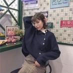 【tops】スウィートソリッドカラー無地合わせやすいニットセーター