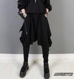 2019 夏 レディース 新作 パンツ サルエルパンツ アシンメトリー 黒 ブラック ストリート 韓国ファッション モード系 747