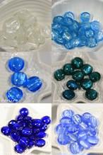 多色-銀箔ガラスビーズ 直径約12㎜, 8 ㎜厚【b7】4個