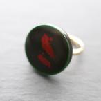飛騨春慶塗 リング(指輪)緑×箔 (R003)