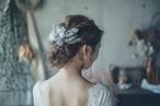 薄紫あじさいとウォッシュブルーのデルフィニュームヘッドドレス