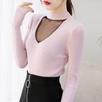 【tops】着心地いいチュールハーフネック新作セーター 23142912