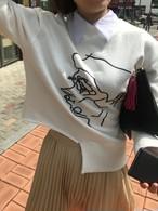 予約注文商品 フェイス刺繍トレーナー トレーナー スウェット 韓国ファッション