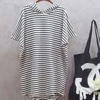 【dress】カジュアル半袖フード付きストライプ柄ワンピース