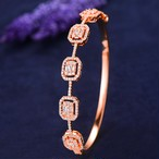 GODKIトレンディな高級スタッカブルバングルカフ用女性ウェディングフルキュービックジルコンクリスタルCZドバイシルバーブレスレットパーティージュエリー2019 H060B Rose Gold