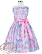 2色展開 花柄 かわいい 女の子 リボン ノースリーブ kids import dress flower pink positive spanish girl colorful happy formal party garden princess dress  インポートドレス  ピンク 子供 キッズ カラフル お姫様