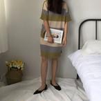 striped half sleeve long dress 1578