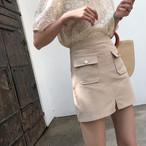 ポケット付き ミニ丈 スカート カジュアル【15576】