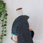 大島紬 藍鼠に松皮菱 袷