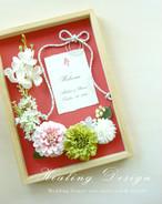 和風 ウェルカムボード(橙色×椿フラワー)和装 結婚式 ウェディング モダン / 受注製作