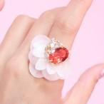 【リング.28】WHITE phantomFLOWER crystal