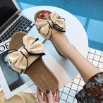 【shoes】リボン飾りビーチ合わせやすいフラットシューズスリッパ