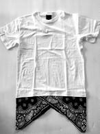 MODISH GAZE ペイズリー柄 ロング丈 半袖切替Tシャツ White
