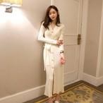 【dress】ニットワンピースロング丈ボタン定番シンプルレディースワンピース