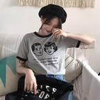 【tops】学園風カジュアルプリントラウンドネック半袖Tシャツ
