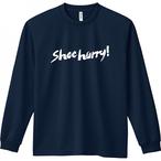 【ネイビー/ホワイト】SHOEHURRY! 長袖ドライTシャツ
