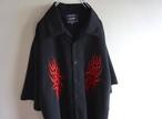 2000's トライバル刺繍 チカーノシャツ ブラック×レッド 表記(3XL)